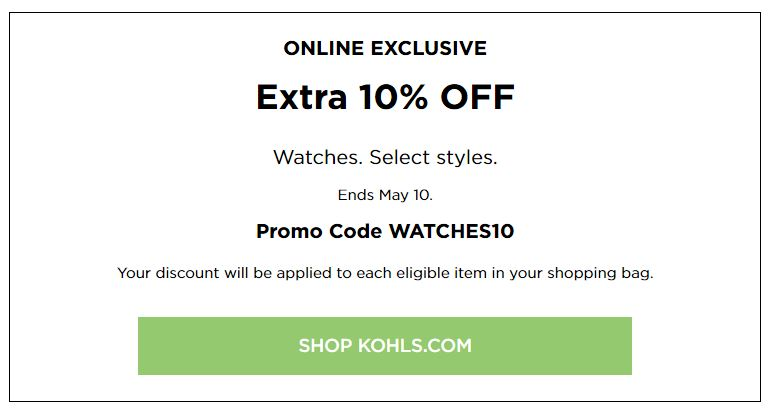 Kohl's Online Coupons: Extra $10 Off Watches May 2020