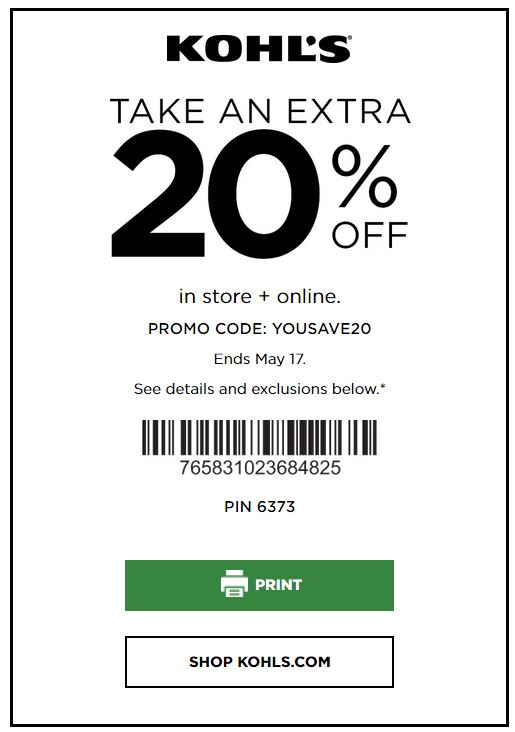 Kohl's Online Coupons: Extra 20% OFF Sitewide May 2020