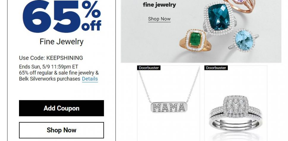 Belk 65% Off Regular & Sale Fine Jewelry & Belk Silverworks