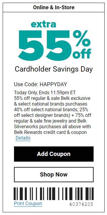 Belk Extra 55% OFF Cardholder Savings Day