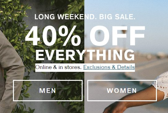 Express 40% Off Sitewide Long Weekend Big Sale