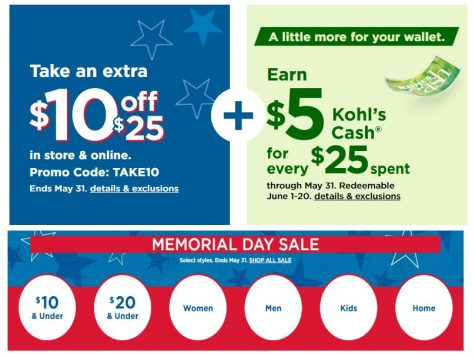 Kohls Memorial Day Sale 2021 - $10 Off $25