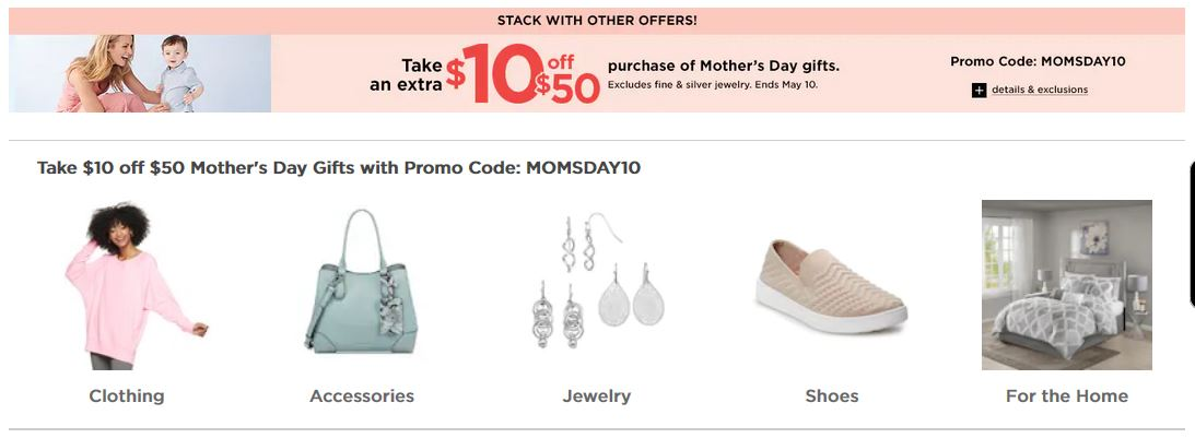 Kohl's Coupons: Extra $10 OFF $50 Mother's Day Gifts