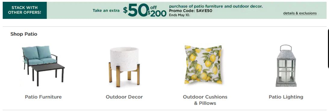 Kohl's Coupons: Extra $50 OFF $200 Patio Furniture and Outdoor Decor
