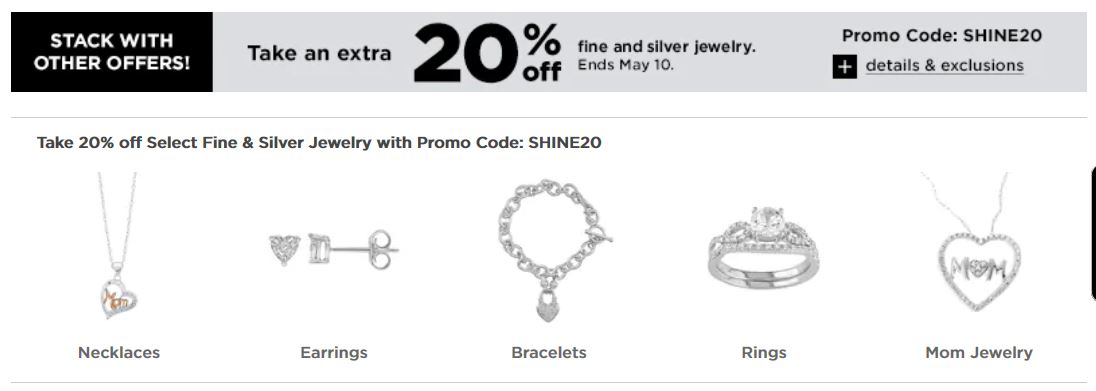 Kohl's Coupons: Extra 20% Off Fine and Silver Jewelry